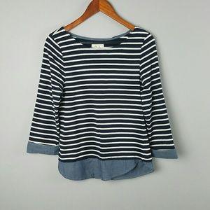 Per Se Striped Navy Sweater Chambray M
